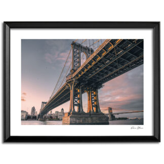 Print of the Manhattan bridge and morning sky looking across to Brooklyn.